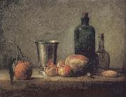 Jean Baptiste Simeon Chardin Orange silver apple pears and two glasses of wine bottles painting